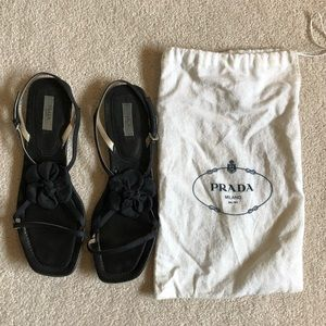 Prada Black Flat Sandals